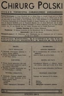 Chirurg Polski : organ Towarzystwa Chirurgicznego Warszawskiego. 1939, nr1