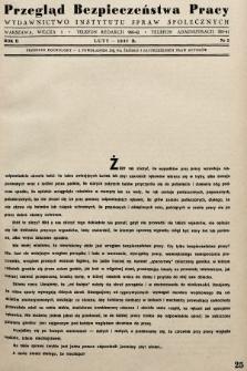 Przegląd Bezpieczeństwa Pracy : wydawnictwo Instytutu Spraw Społecznych. 1937, nr2