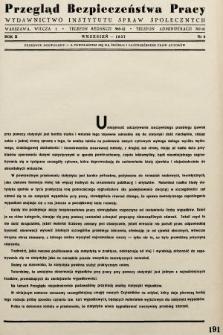 Przegląd Bezpieczeństwa Pracy : wydawnictwo Instytutu Spraw Społecznych. 1937, nr9