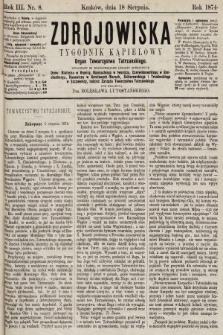Zdrojowiska : tygodnik kąpielowy. 1874, nr8