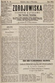 Zdrojowiska : tygodnik kąpielowy. 1874, nr10