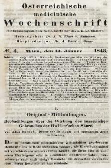 Oesterreichische Medicinische Wochenschrift als Ergänzungsblatt der Medicinischen Jahrbücher des k.k. Österreichischen Staates. 1843, nr3