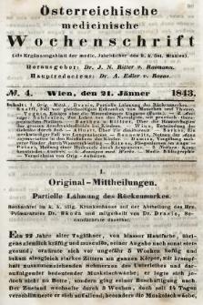Oesterreichische Medicinische Wochenschrift als Ergänzungsblatt der Medicinischen Jahrbücher des k.k. Österreichischen Staates. 1843, nr4