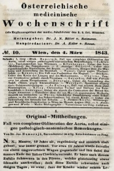 Oesterreichische Medicinische Wochenschrift als Ergänzungsblatt der Medicinischen Jahrbücher des k.k. Österreichischen Staates. 1843, nr10