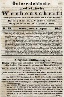 Oesterreichische Medicinische Wochenschrift als Ergänzungsblatt der Medicinischen Jahrbücher des k.k. Österreichischen Staates. 1843, nr15