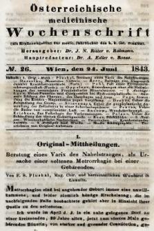 Oesterreichische Medicinische Wochenschrift als Ergänzungsblatt der Medicinischen Jahrbücher des k.k. Österreichischen Staates. 1843, nr26