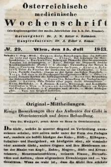 Oesterreichische Medicinische Wochenschrift als Ergänzungsblatt der Medicinischen Jahrbücher des k.k. Österreichischen Staates. 1843, nr29