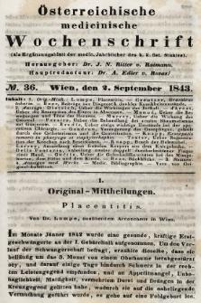 Oesterreichische Medicinische Wochenschrift als Ergänzungsblatt der Medicinischen Jahrbücher des k.k. Österreichischen Staates. 1843, nr36