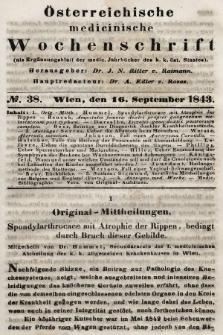 Oesterreichische Medicinische Wochenschrift als Ergänzungsblatt der Medicinischen Jahrbücher des k.k. Österreichischen Staates. 1843, nr38