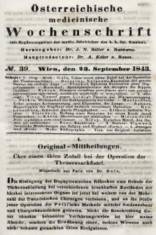 Oesterreichische Medicinische Wochenschrift als Ergänzungsblatt der Medicinischen Jahrbücher des k.k. Österreichischen Staates. 1843, nr39