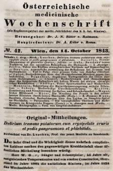 Oesterreichische Medicinische Wochenschrift als Ergänzungsblatt der Medicinischen Jahrbücher des k.k. Österreichischen Staates. 1843, nr42