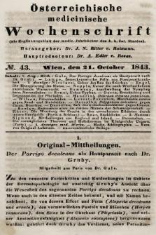 Oesterreichische Medicinische Wochenschrift als Ergänzungsblatt der Medicinischen Jahrbücher des k.k. Österreichischen Staates. 1843, nr43
