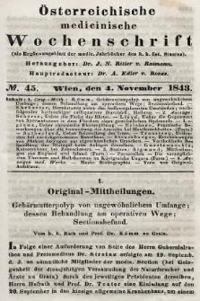 Oesterreichische Medicinische Wochenschrift als Ergänzungsblatt der Medicinischen Jahrbücher des k.k. Österreichischen Staates. 1843, nr45