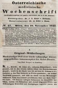 Oesterreichische Medicinische Wochenschrift als Ergänzungsblatt der Medicinischen Jahrbücher des k.k. Österreichischen Staates. 1843, nr47
