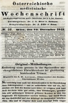 Oesterreichische Medicinische Wochenschrift als Ergänzungsblatt der Medicinischen Jahrbücher des k.k. Österreichischen Staates. 1843, nr52