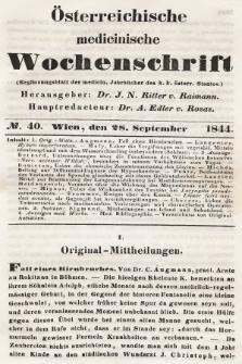 Oesterreichische Medicinische Wochenschrift als Ergänzungsblatt der Medicinischen Jahrbücher des k.k. Österreichischen Staates. 1844, nr40