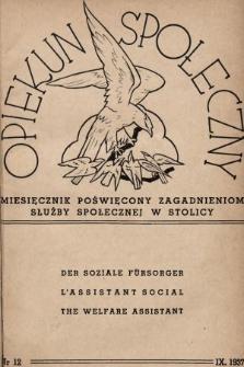 Opiekun Społeczny : miesięcznik poświęcony zagadnieniom służby społecznej w stolicy. 1937, nr12