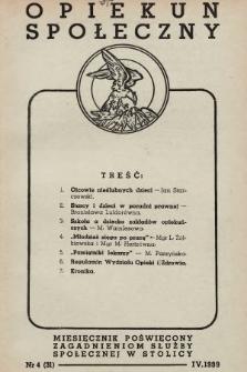 Opiekun Społeczny : miesięcznik poświęcony zagadnieniom służby społecznej w stolicy. 1939, nr4