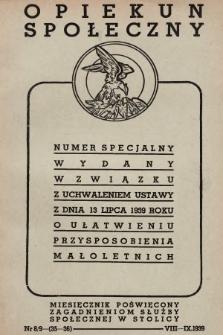 Opiekun Społeczny : miesięcznik poświęcony zagadnieniom służby społecznej w stolicy. 1939, nr8/9
