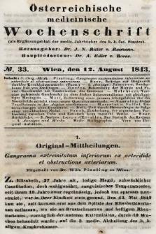Oesterreichische Medicinische Wochenschrift als Ergänzungsblatt der Medicinischen Jahrbücher des k.k. Österreichischen Staates. 1843, nr33