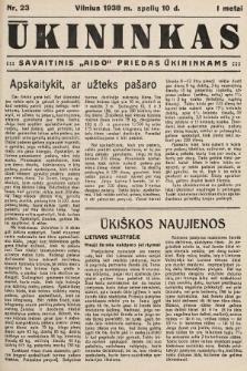 """Ūkininkas : savaitinis """"Aido"""" priedas ūkininkams. 1938, nr23"""