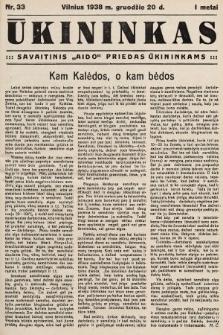 """Ūkininkas : savaitinis """"Aido"""" priedas ūkininkams. 1938, nr33"""