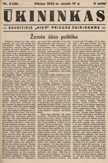 """Ūkininkas : savaitinis """"Aido"""" priedas ūkininkams. 1939, nr2"""