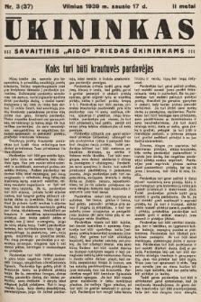 """Ūkininkas : savaitinis """"Aido"""" priedas ūkininkams. 1939, nr3"""