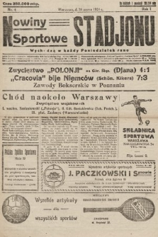 Nowiny Sportowe Stadjonu. 1924, nr4
