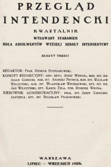 Przegląd Intendencki : kwartalnik wydawany staraniem Koła Absolwentów Wyższej Szkoły Intendentury. 1926, nr3