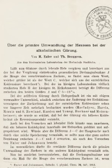 [Zeitschrift für Gärungsphysiologie, Allgemeine, Landwirtsschaftliche und Technische Mykologie. Bd.1, 1912, Heft3]