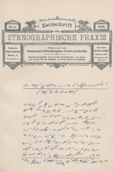 Zeitschrift für Stenographische Praxis. Jg 1, 1884, no.8