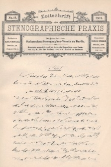 Zeitschrift für Stenographische Praxis. Jg 1, 1884, no.12