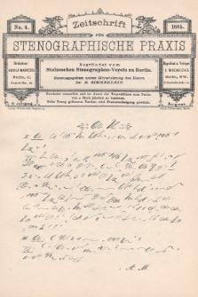 Zeitschrift für Stenographische Praxis. Jg 2, 1885, no.4