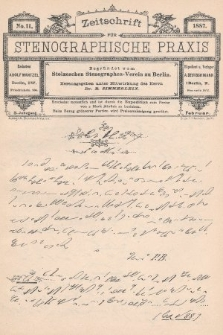Zeitschrift für Stenographische Praxis. Jg 3, 1887, no.11