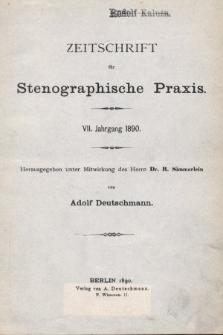 Zeitschrift für Stenographische Praxis. Jg 7, 1890, [Spis rocznika]