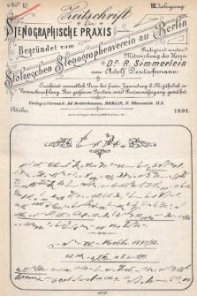 Zeitschrift für Stenographische Praxis. Jg 8, 1891, no.10