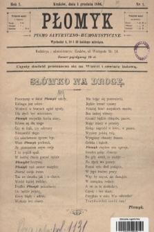Płomyk : pismo satyryczno-humorystyczne. 1896, nr 1