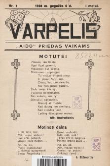 """Varpelis : """"Aido"""" priedas vaikams. 1938, nr1"""