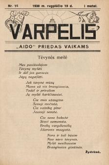 """Varpelis : """"Aido"""" priedas vaikams. 1938, nr16"""