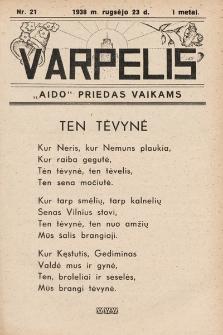 """Varpelis : """"Aido"""" priedas vaikams. 1938, nr21"""