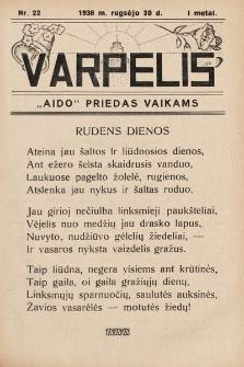 """Varpelis : """"Aido"""" priedas vaikams. 1938, nr22"""