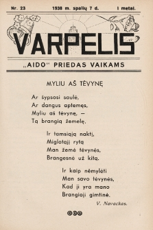 """Varpelis : """"Aido"""" priedas vaikams. 1938, nr23"""