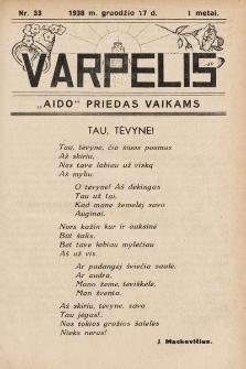 """Varpelis : """"Aido"""" priedas vaikams. 1938, nr33"""