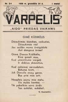 """Varpelis : """"Aido"""" priedas vaikams. 1938, nr34"""