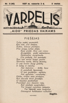 """Varpelis : """"Aido"""" priedas vaikams. 1939, nr5"""