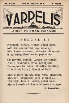 """Varpelis : """"Aido"""" priedas vaikams. 1939, nr8"""