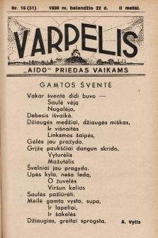 """Varpelis : """"Aido"""" priedas vaikams. 1939, nr16"""