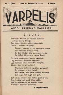 """Varpelis : """"Aido"""" priedas vaikams. 1939, nr17"""