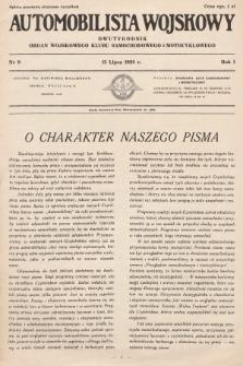 Automobilista Wojskowy : dwutygodnik : organ Wojskowego Klubu Samochodowego i Motocyklowego. 1926, nr9